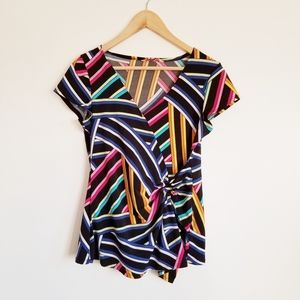 Material Girl stretch vibrant cap sleeve wrap top